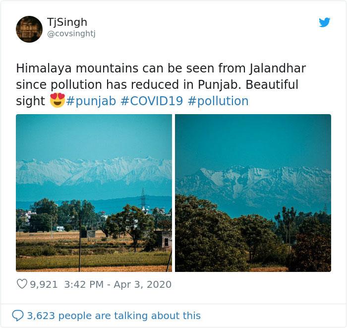 himalayas mountains coronavirus pollution levels drop eebedad