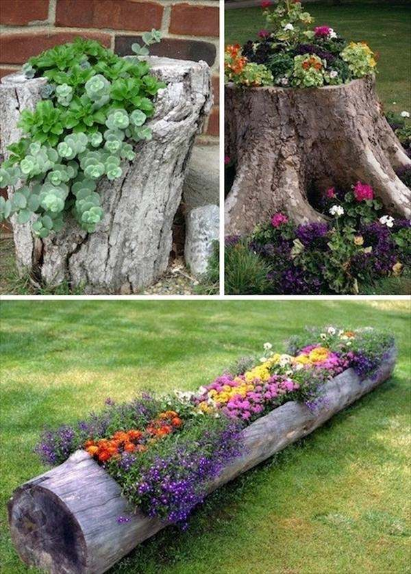 homemade garden decorations tree trunk decoration ideas flowers